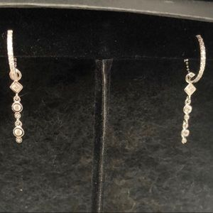 Petite CZ Hoops w/ Charm Dangle, NWT